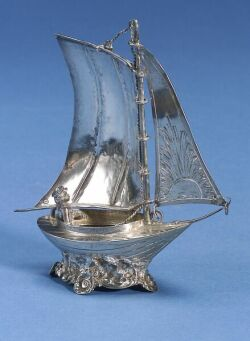 French Silver Sailboat Table Ornament, with London import marks for Berthold Muller, 1894, realistically modeled as a small sailing ves