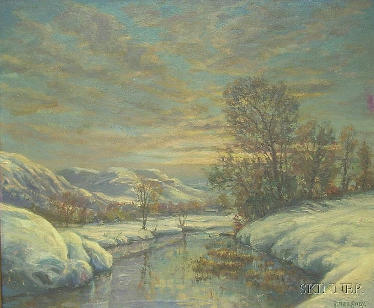 Framed Oil on Board Landscape The First Snow Attributed to Alfred Addy (American, 1910-1998), inscri...