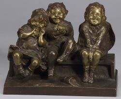 Juan Clara (French, 1875- ), Watching Something, Bronze Figure of Three Seated Children,,,,