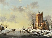 """Reginald Ernest Arnold (British, 1853-1938), Animated Winter View with Skaters, Signed """"R.E.ARNOLD-"""" l.l., inscribed """"Hamilton Colepepe"""