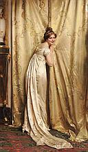 """Charles Joseph Frederic Soulacroix (French, 1825-1879 or later), A Peek Behind the Curtain, Signed """"F. Soulacroix"""" l.l., Condition: Min"""