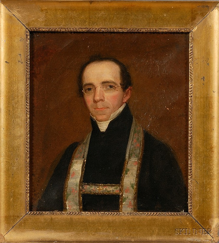 American School, 19th Century Portrait of a Reverend. Purportedly the work of Nathaniel Jocelyn (New Haven, Connecticut, and New York,