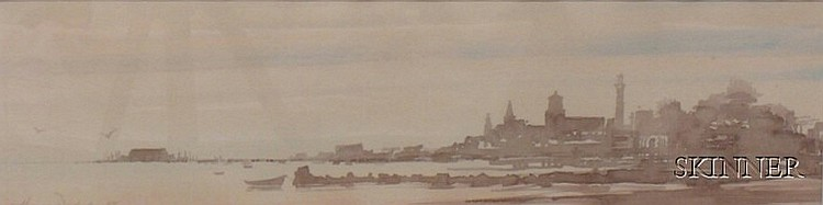 Framed Watercolor and Wash on Paper/board View of Provincetown Harbor by Harvey Dodd (American, 20th Centu...