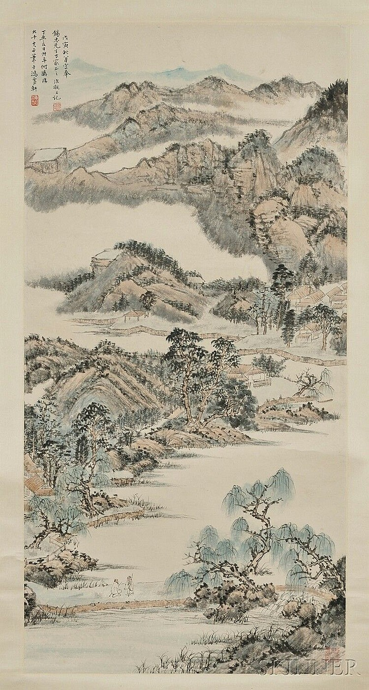 Hanging Scroll, China, ink and colors on paper, depicting a landscape with figures, signed