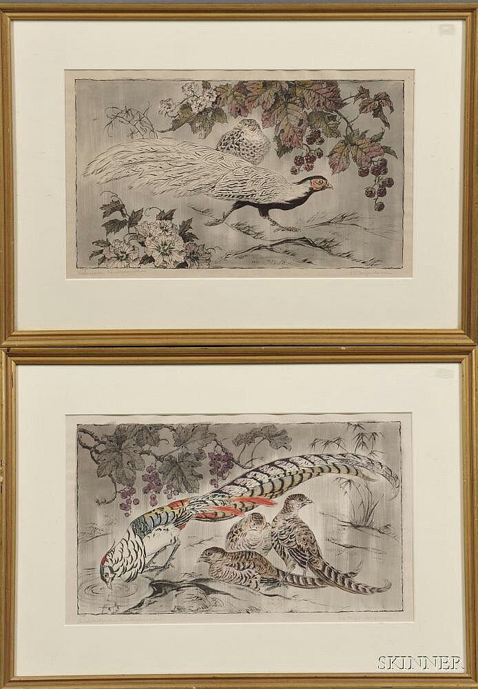 Otto Eduard Voigt (German, 1870-1949), Two Framed Prints of Pheasants: Amherstfasan and Silberfasan, Signed and inscribed