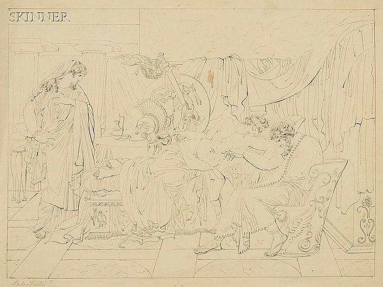 Attributed to Francesco Sabatelli (Italian, 1803-1829) Classical Scene Inscribed