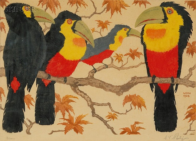 Martin E. Philipp (German, 1887-1978) Four Toucans, 1924. Signed