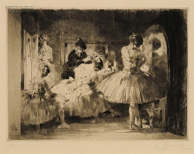 Auguste Brouet (French, 1872-1941) Lot of Three Scenes from the Ballet: In the Dressing Room, ...