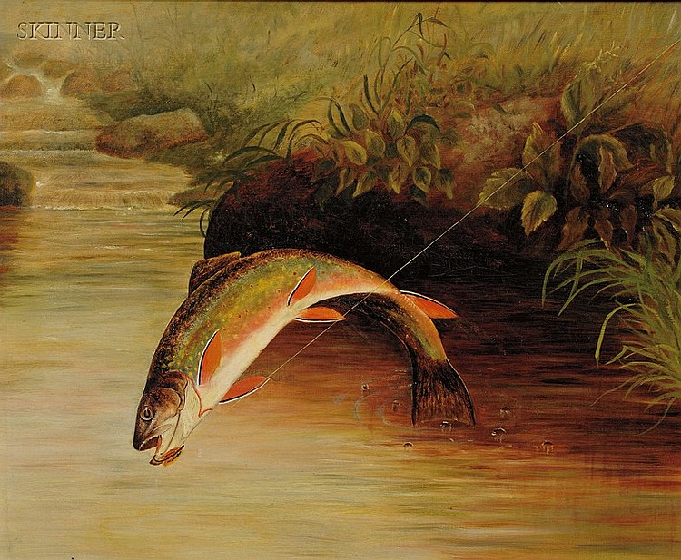Samuel A. Kilbourne (American, 1836-1881) Rainbow Trout Taking a Fly Unsigned. Oil ...