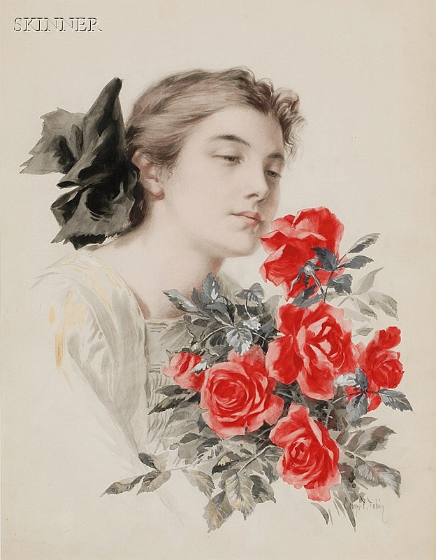 George Timothy Tobin (American, 1864-1956) Portrait of a Woman with Roses Signed
