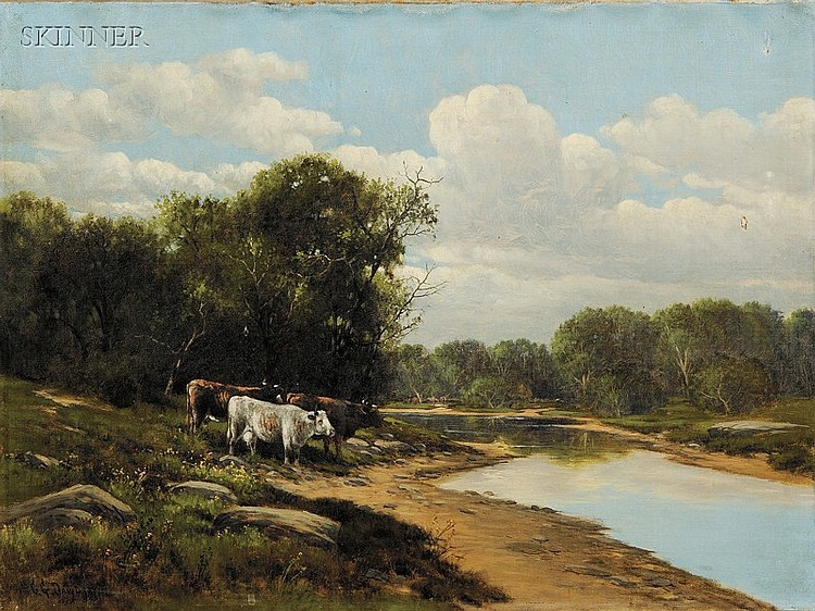 Charles Grant Davidson (American, 1820-1902 Lot of Two Views: Cows on a River Bank and Sheep Grazing...