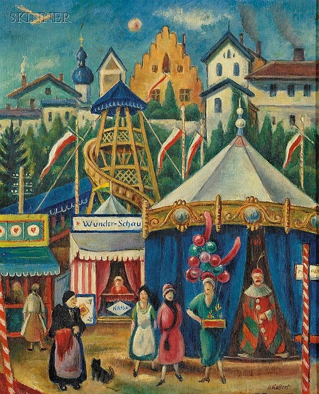 August Kallert (Germany, 1882-1958) Der Wunder-Schau, Dachauer Volksfest Signed