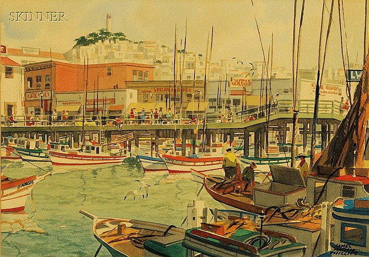 James March Phillips (American, 1913-1981) Fisherman's Wharf, San Francisco, California Signe...