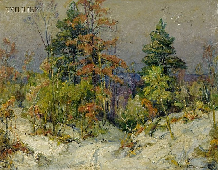 Charles Vermoskie (American, 1905-1991) Winter Landscape Signed and dated