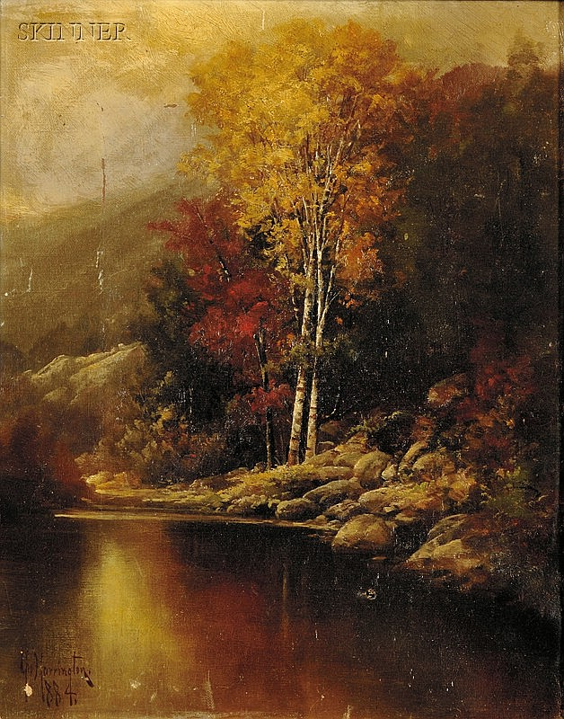 George Harrington (American, 1833-1911) Autumn Landscape Signed and dated