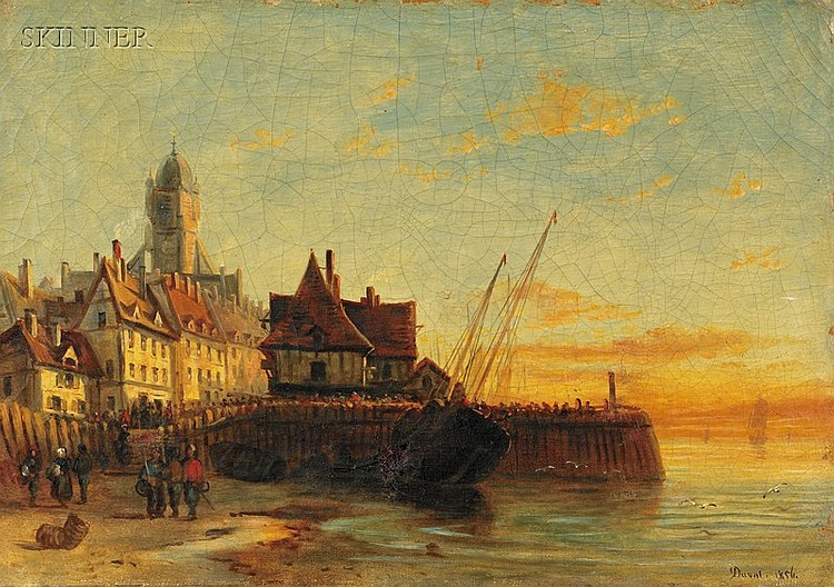 Attributed to Etienne Duval (Swiss, 1824-1914) Coastal View Signed and dated