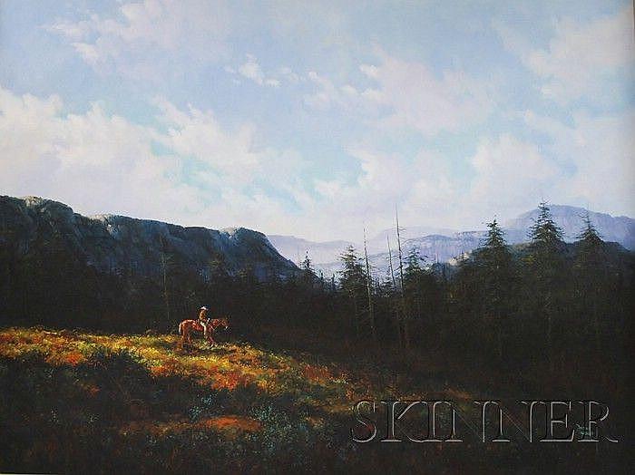 Jorge Tarallo Braun (Uruguayan, b. 1951) Cowboy in Fall Mountainous Landscape Signed