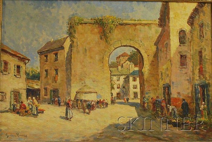 Dennis Ainsley (American, 1880-1952) Market Plaza, Grenada, Spain. Signed