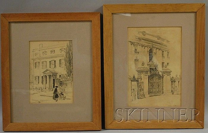 Lot of Two Framed Pencil Drawings of Architectural Views by Helen Mason Grose (American, b. 1880) Entrance with Ornate Gate, possibl...