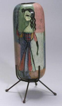Polia Pillin Figural Ceramic Vase, California, Pillin (d. 1992), cylindrical vase decorated with