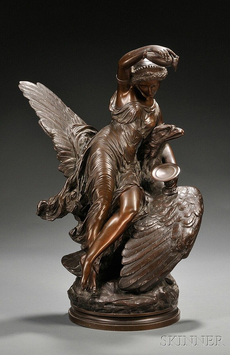Louis Charles Hippolyte Buhot (French, 1815-1865) Hebe and the Eagle of Jupiter the figural group on circular socle, chocolate brown...