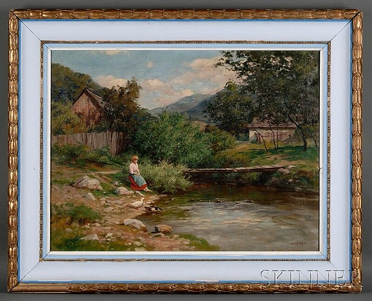 Tibor Szontagh (Hungarian, 1873-1930) Girl and Ducks at the River's Edge Signed
