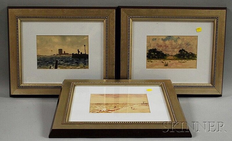 Orlando Vincent Schubert (American, 1844-1928) Three Framed Watercolor Views of Florida: River, Beach, and Landscape. Signed