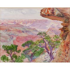 Dodge McKnight (American, 1860-1950), Canyon Landscape. Unsigned. Watercolor on paper (laid down),