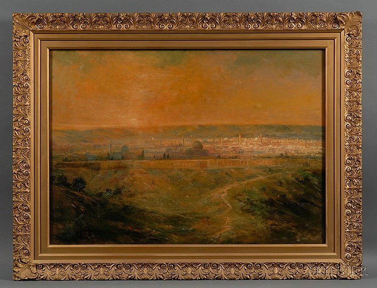 Lucien Whiting Powell (American, 1846-1930) View of Jerusalem Signed, inscribed and dated