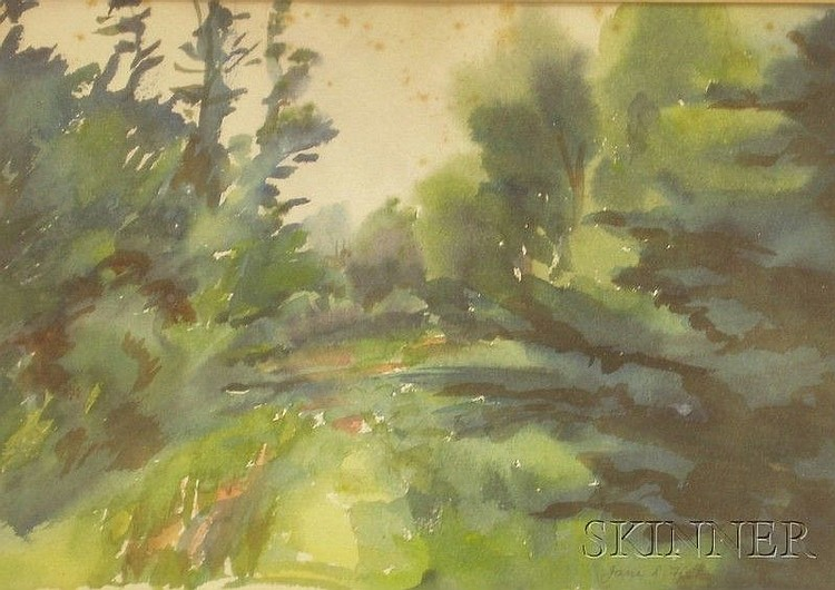 Lot of Four Framed Californian and American Landscape Watercolors, Henri (Henry) Gilbert De Kruif (American, 1882-1944), Low Water-Palm