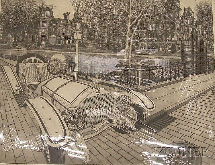 Unframed Etching on Paper Street Scene Boulevard by Bruce McCombs (American, b. 1943), titled in pencil l.l., inscribed