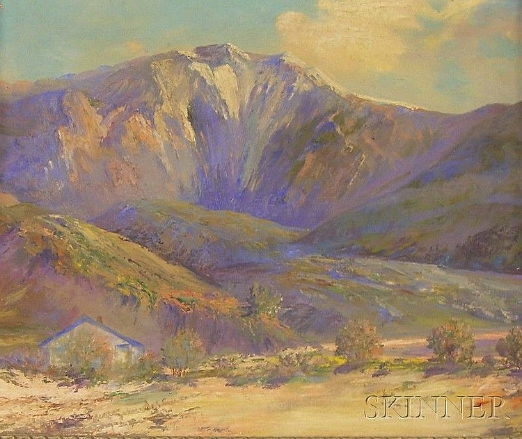 Two Framed Oil on Canvasboard Western Landscapes by Elizabeth M. Schleussner (American, 1881-1956),...