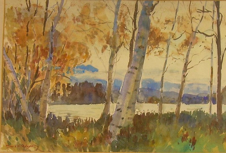 Framed Watercolor and Graphite on Paper of Autumn Birches by David Curtis Baker (American, 1915-1999), signed