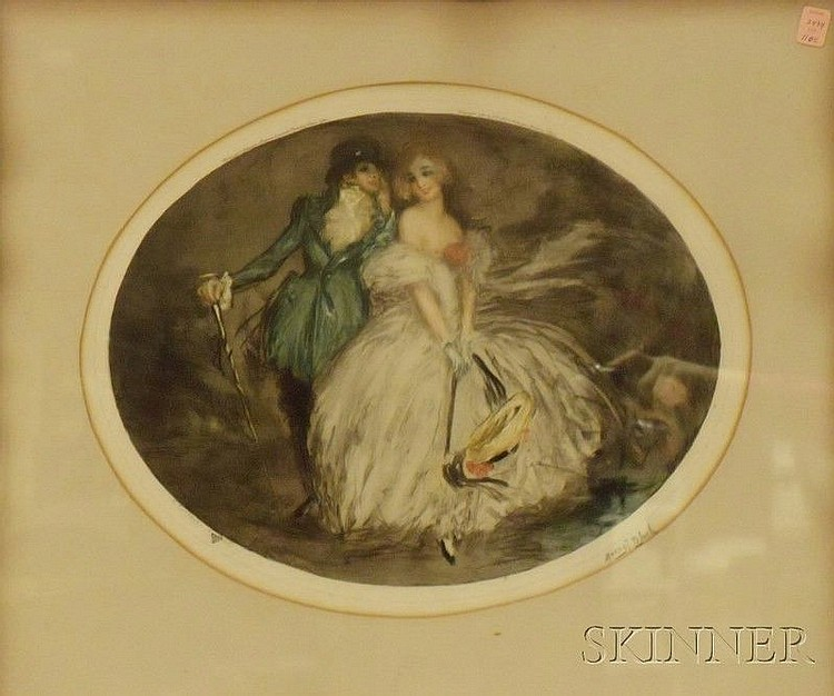 Framed Color Etching, Temptation,  by Marcel Bloch (French, b. 1884), signed