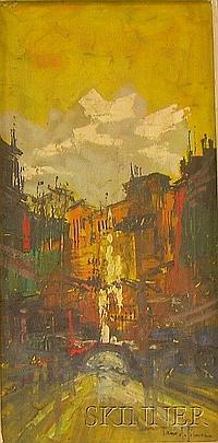 """Framed Oil on Canvas, Vista nella Veccia Roma, by Tano de Simone (Italian, b. 1935), signed """"Tano de Simone"""" l.r., also sig..."""