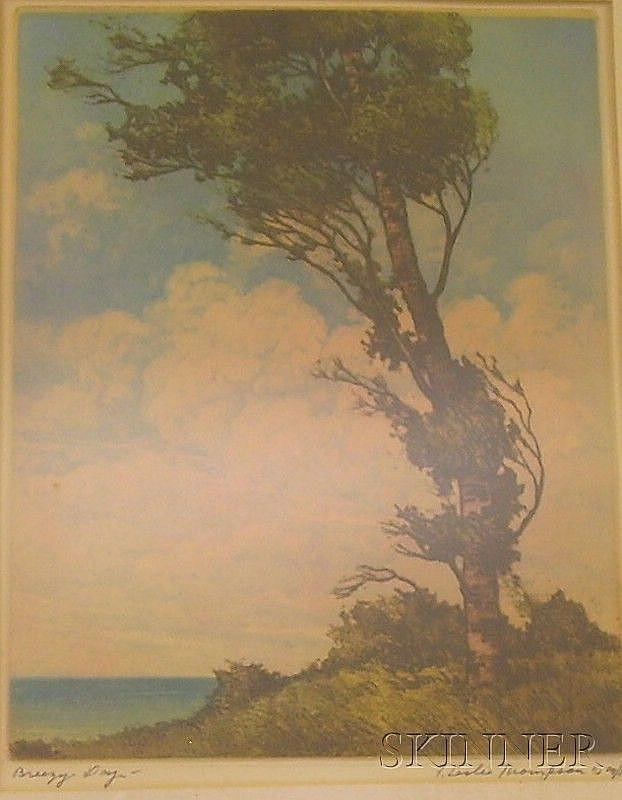 Framed color etching, Breezy Day by F. Leslie Thompson (American, 1889-1965), signed and inscribed