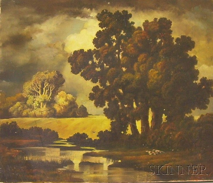 Unframed Oil on Canvas Autumn Landscape with Pointers, signed