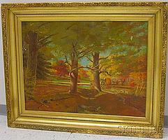 """Framed Oil on Canvas Autumn View with Trees by a River by Charles Henry Springer (American, 1857-1920), inscribed """"Charles H Springer.."""
