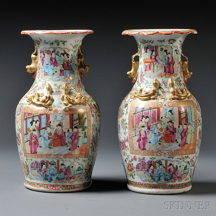 Pair of Export Rose Medallion Vases, China, 20th century, baluster-form with everted, scalloped rim, decorated with cartouches depictin