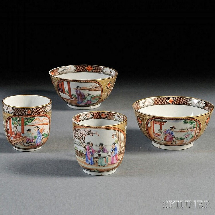 Four Porcelain Export Ware Items, China, 19th century, two shallow bowls and two cups with handles, decorated with cartouches depicting