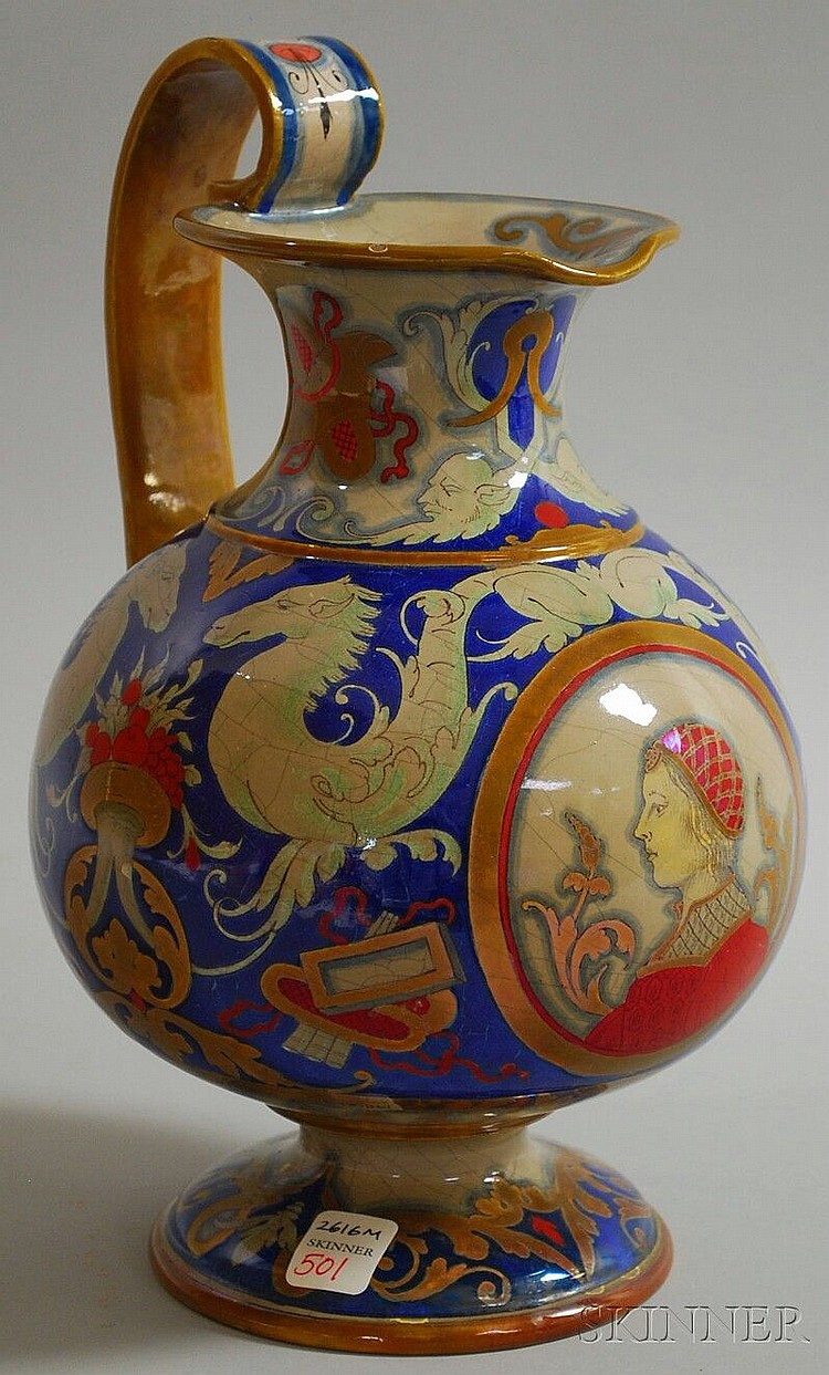 French Faience Ewer, Blois, c. 1900, Eugene Balon for Ulysses Pottery, ewer decorated with Italianate motifs including central portrait