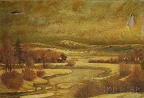 Charles Henry Springer (American, 1857-1920) Winter Landscape, signed and dated l.l., unframed, (tear, puncture, soiling), 24 x 36 i...