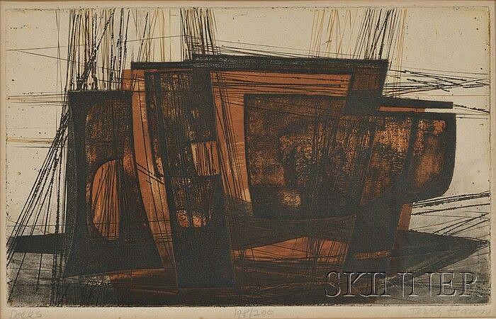 Terry Haas (Czechoslovakian, b.1923) Docks Signed