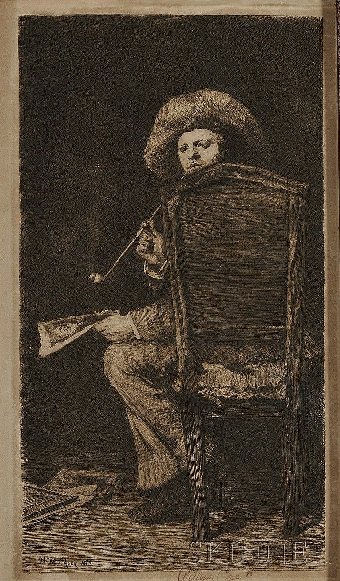 William Unger (German, 1837-1932), After William Merritt Chase (American, 1849-1916) Portrait of Frank Duveneck/The Smoker. Inscribed i