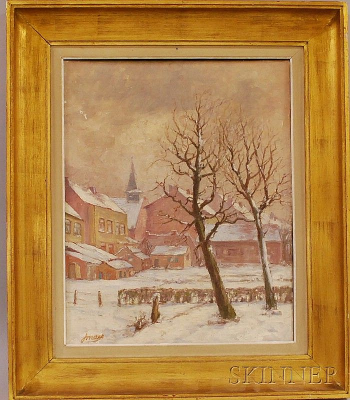Jan Maes (Belgian, 1876-1974), Winter Village Scene., Signed