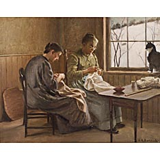 Horace R. Burdick (American, 1844-1942) The Daily Mending. Signed l.r. Oil on canvas (mounted), 11 x 14 in., framed.