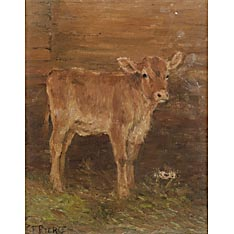 Charles Franklin Pierce (American, 1844-1920) Lot of Four Paintings of Cows. One signed l.l. Oil on canvas, sizes to 18 1/4 x 24 in., one framed. Provenance: From the artist's estate and then descended through the family.