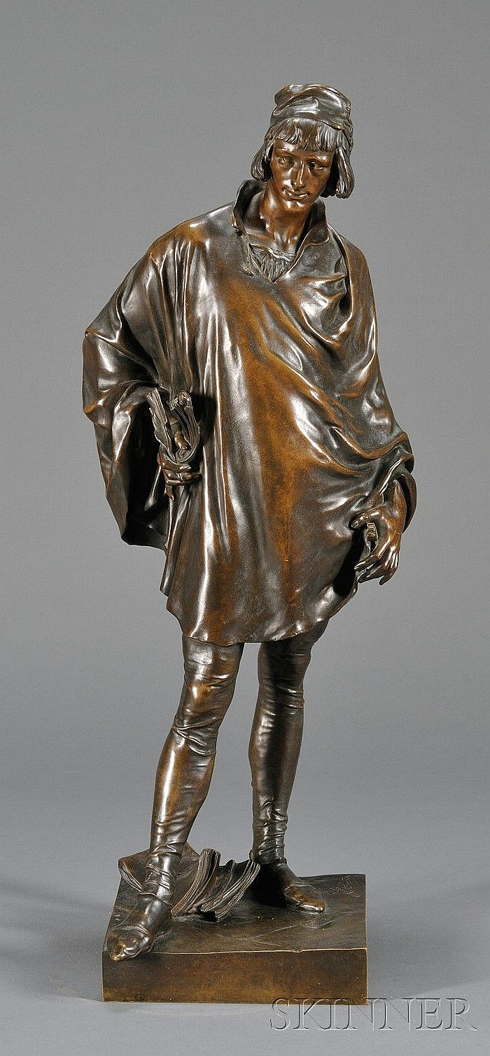 Bronze Figure Depicting Francois Villon, France, c. 1883, by Jean Etcheto (1853-1889), brown patina, incised signature and impressed...