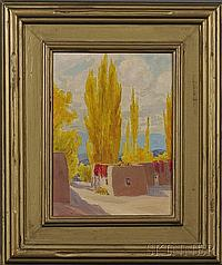 Pueblo Scene Painting by Sheldon Parsons (American, 1866-1943), signed l.l., Oil on board, 9 x 12 in., framed. Provenance: Chester C...