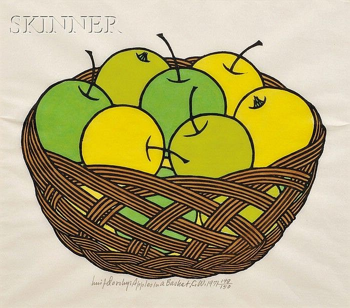 Jacques Hnizdovsky (American/Ukrainian, 1915-1985) Apples in a Basket, 1971, edition of 150 (Tahir, 112). Signed, titled, inscribed,...